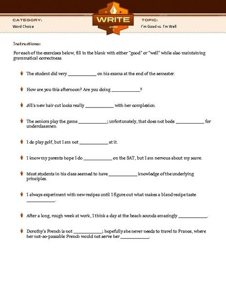 Worksheets Good Vs Well Worksheet im good vs well 5th 10th grade worksheet lesson planet