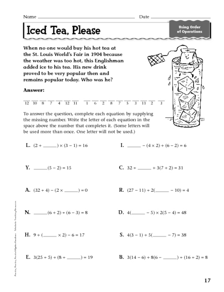 Printables Order Of Operations Worksheets 8th Grade iced tea please order of operations 7th 9th grade worksheet lesson planet