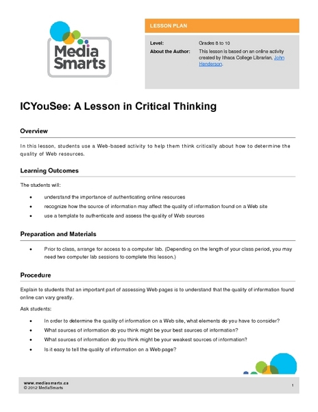 Remodelled Lessons: K-3 - Foundation for Critical Thinking