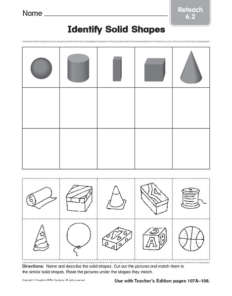 : solid figures worksheets 1st grade worksheets : Plane And Solid ...