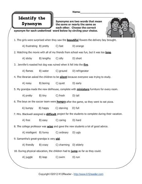 Free antonyms worksheets for grade 5