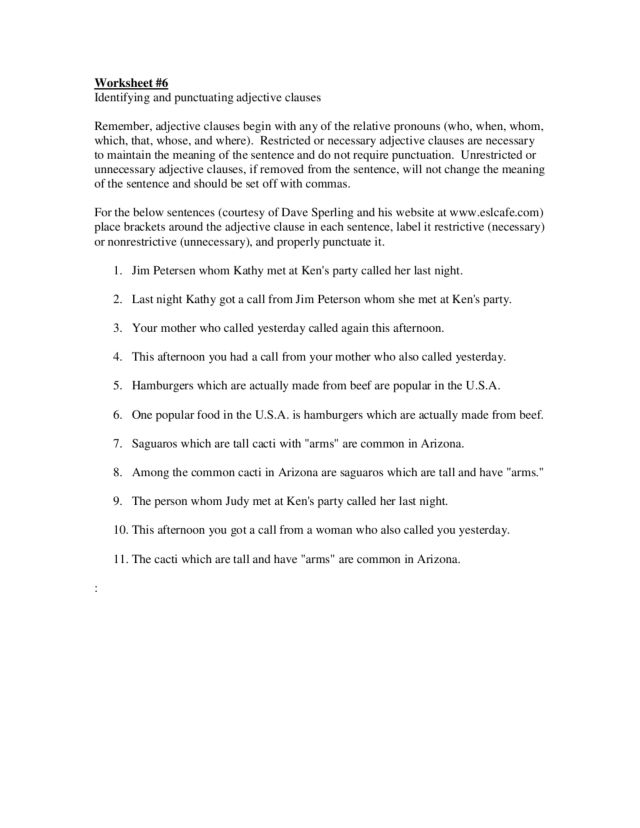 Adjective Clauses Worksheets Free Worksheet Templates – Adjective Clauses Worksheet