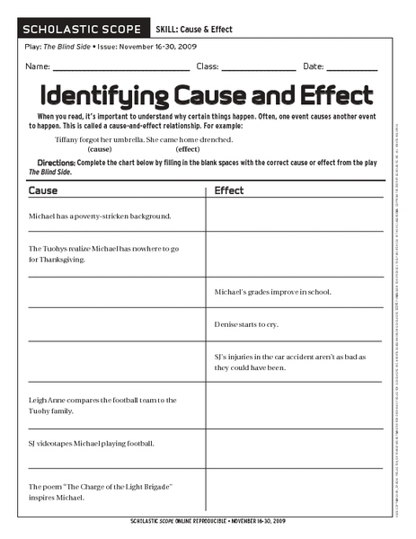 Printables Cause And Effect Worksheet 4th Grade identifying cause and effect 6th 9th grade worksheet lesson planet