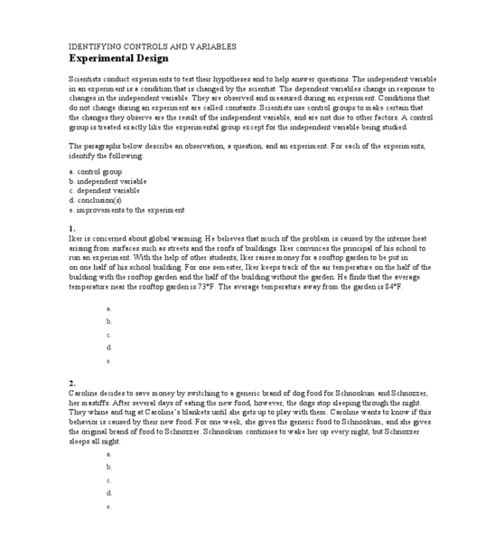 Printables Identifying Independent And Dependent Variables Worksheet identifying controls and variables 6th 12th grade worksheet lesson planet