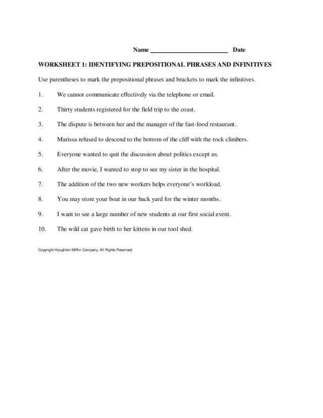 Printables Prepositional Phrase Worksheet identifying prepositional phrases and infinitives 3rd 8th grade worksheet lesson planet