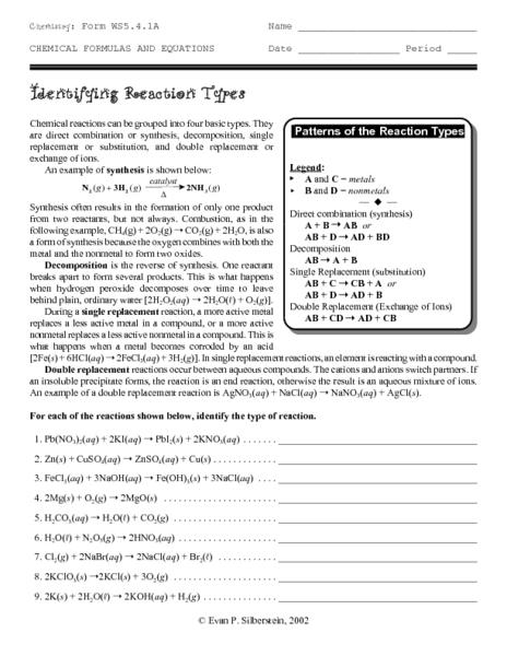 reaction types worksheet free worksheets library download and print worksheets free on. Black Bedroom Furniture Sets. Home Design Ideas