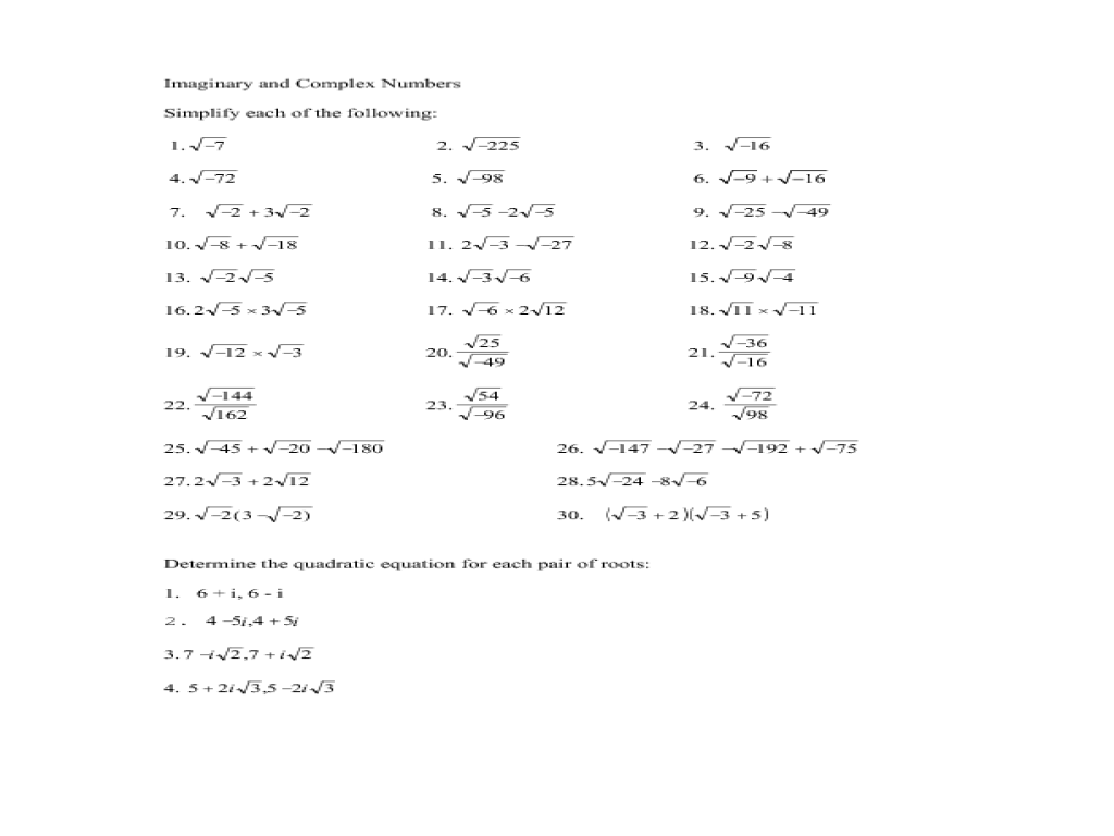 Printables Complex Numbers Worksheet imaginary and complex numbers 11th grade worksheet lesson planet