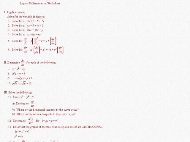 Worksheets Higher Order Derivatives Worksheet implicit differentiation worksheet bloggakuten higher ed lesson planet