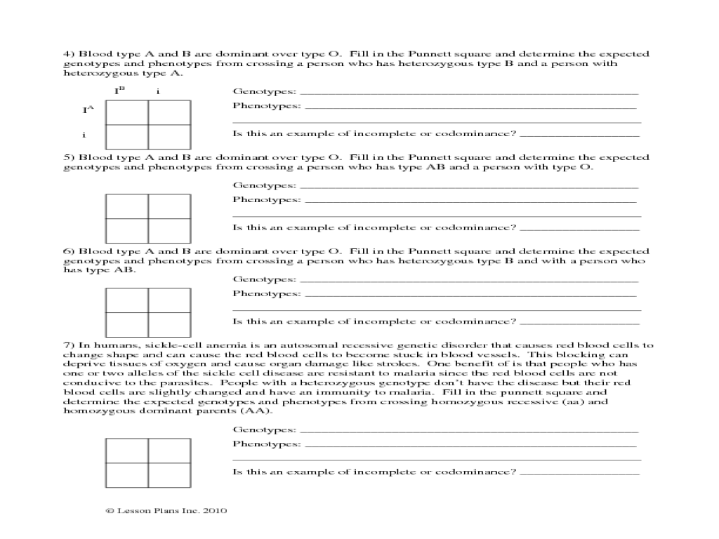Pictures Incomplete And Codominance Worksheet - Studioxcess