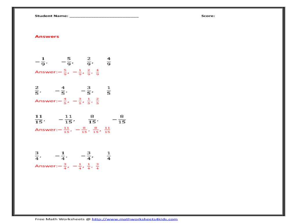 math worksheet : increasing order fractions 3rd  4th grade worksheet  lesson pla  : Order Fractions Worksheet