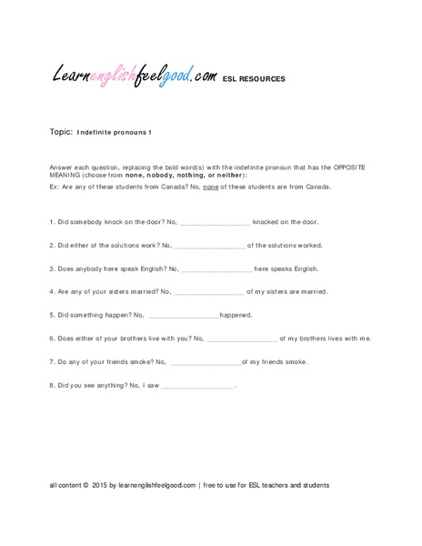 indefinite pronouns worksheet lesupercoin printables worksheets. Black Bedroom Furniture Sets. Home Design Ideas