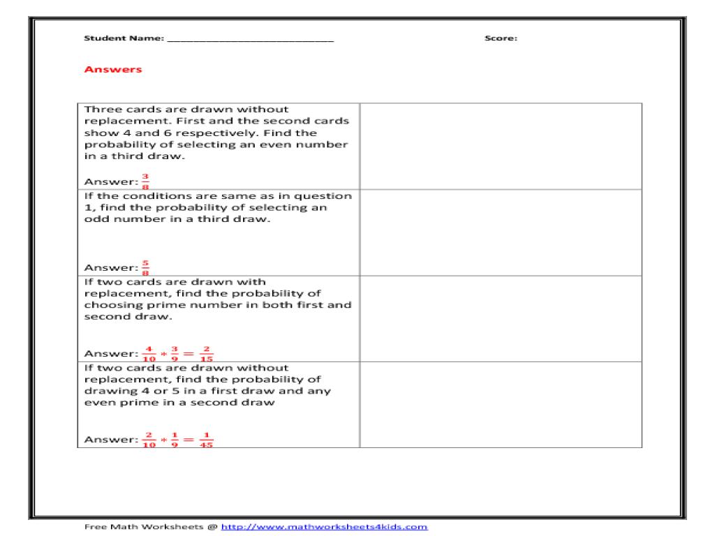 independent probability worksheet bagruinfo – Probability and Statistics Worksheets