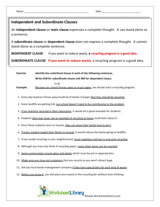 Worksheets Independent And Dependent Clauses Worksheets independent and subordinate clauses 7th 10th grade worksheet lesson planet
