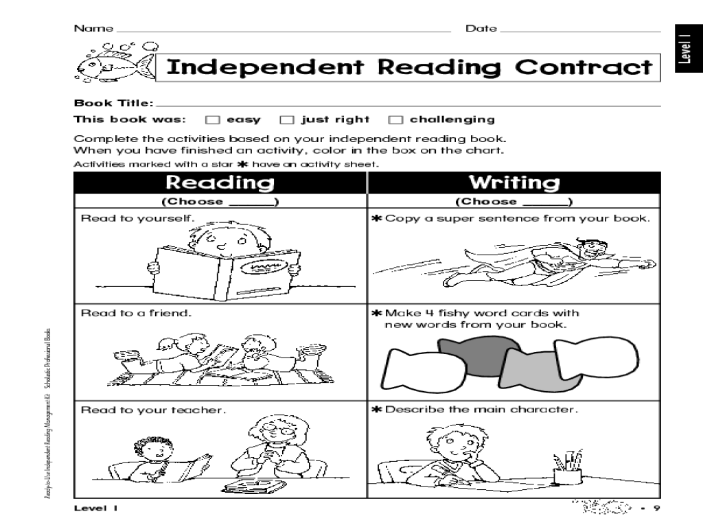 Printables Independent Reading Worksheets independent reading contract kindergarten 3rd grade worksheet lesson planet