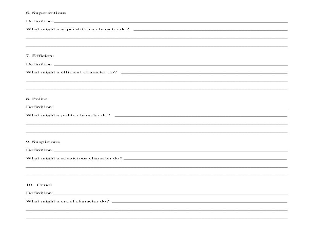 identifying character traits worksheet Termolak – Character Study Worksheet