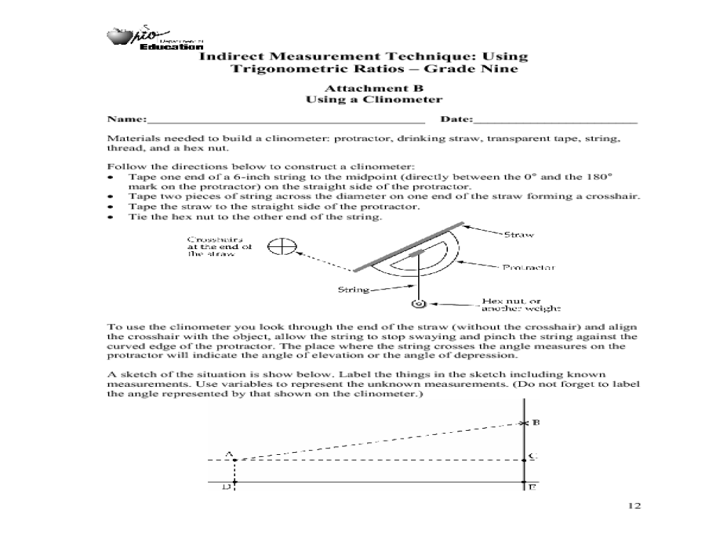 Indirect Measurement Technique Using Trigonometric Ratios 9th – Indirect Measurement Worksheet