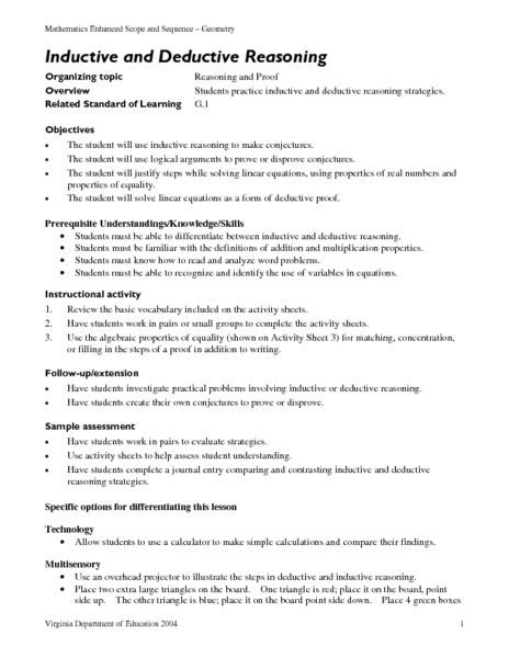 Printables Inductive Reasoning Worksheet inductive and deductive reasoning 9th 12th grade lesson plan planet
