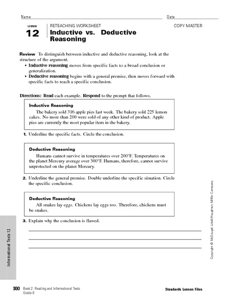 Printables Inductive Reasoning Worksheet inductive vs deductive reasoning 6th 9th grade worksheet lesson planet