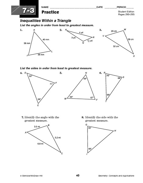 Worksheets Triangle Inequality Practice Worksheet inequalities within a triangle 10th grade worksheet lesson planet