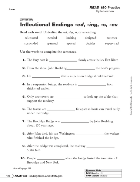 Printables Inflectional Endings Worksheet Sharpmindprojects