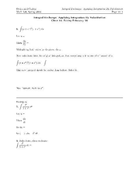 Integration By Substitution Worksheet