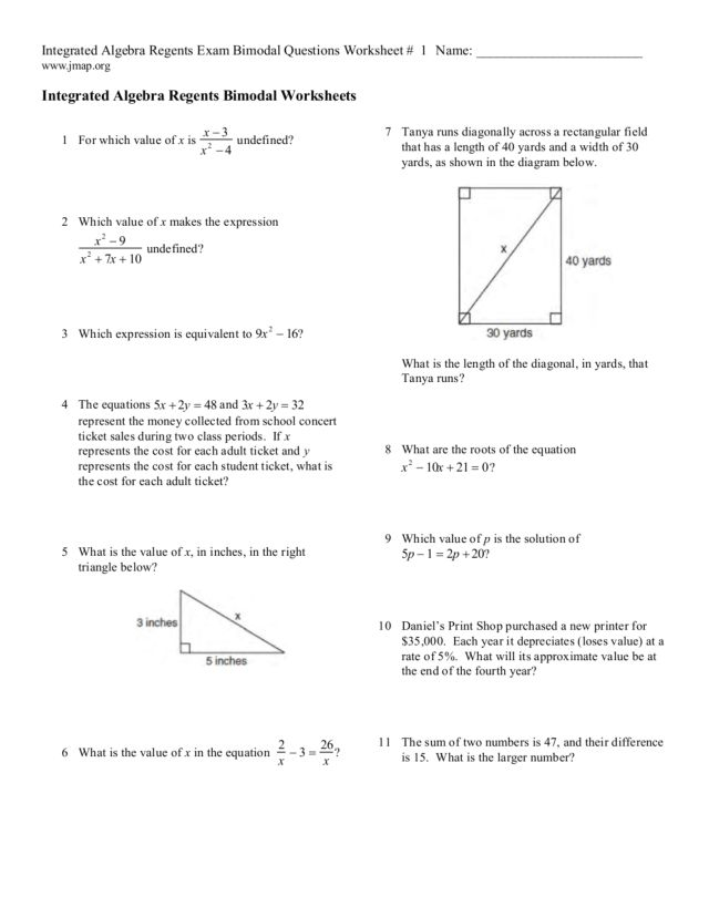 math worksheet : integrate algebra regents exam bimodal questions worksheet 1 9th  : Integrated Math 1 Worksheets