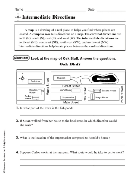 Worksheet Intermediate Directions Worksheet intermediate directions map 3rd 5th grade worksheet lesson planet