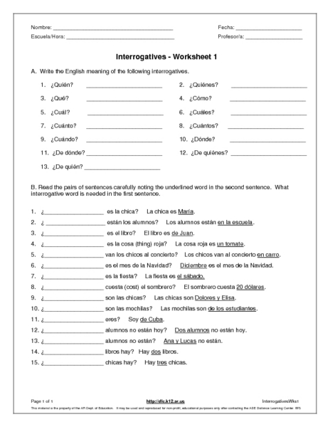 Question Words Worksheet Spanish Question Words