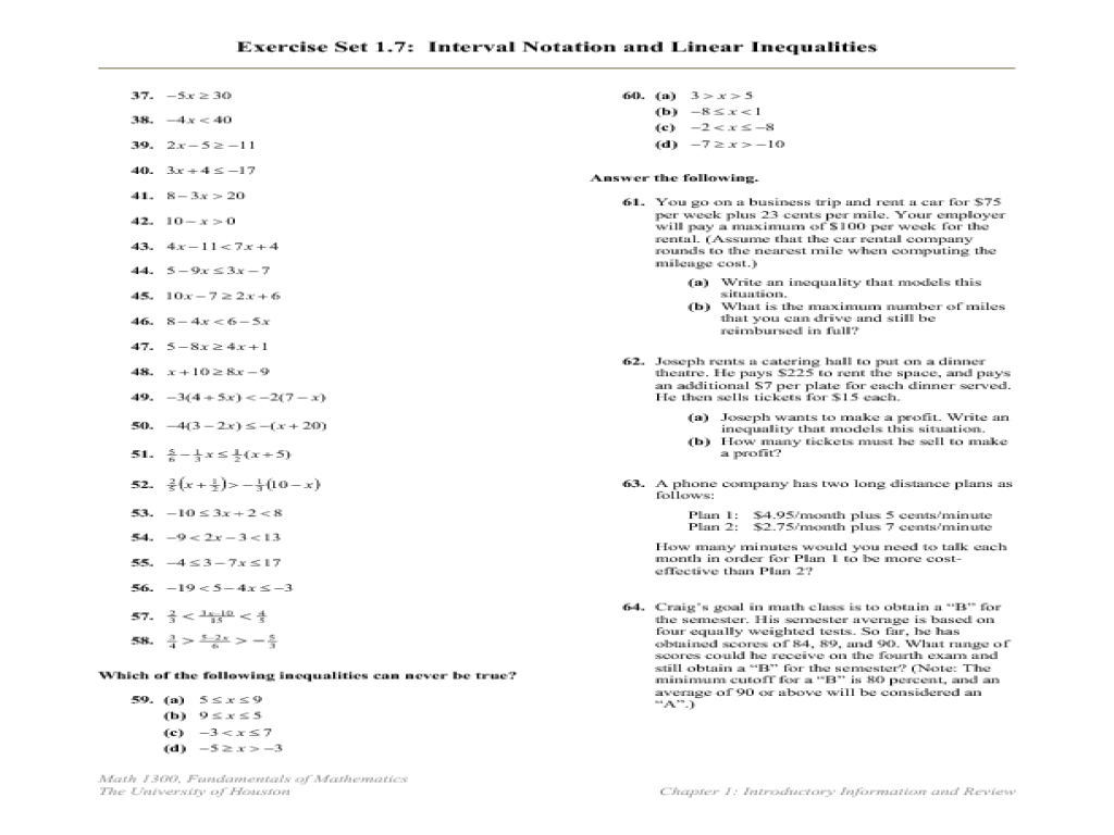 worksheet Linear Inequalities Worksheet interval notation and linear inequalities 6th 12th grade worksheet lesson planet