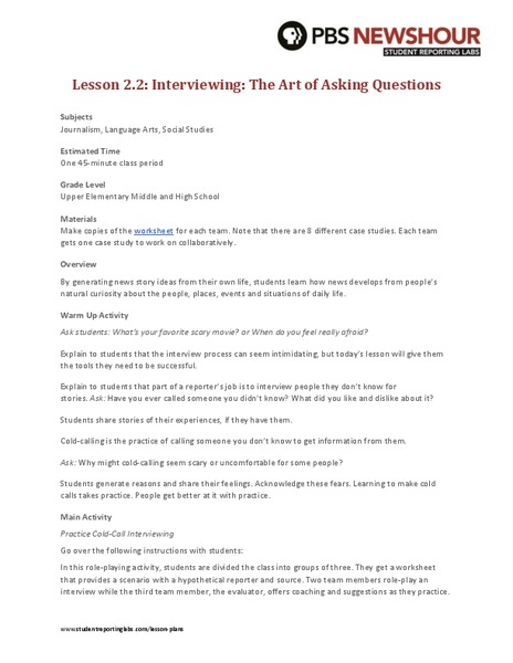 interview techniques lesson plan Ks3 & 4 pshe lesson plan 3 – interview skills the following lesson plan is designed for one 50 to 60 minute session objectives: • to understand the interview.