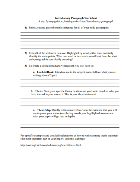 strong thesis statement worksheet