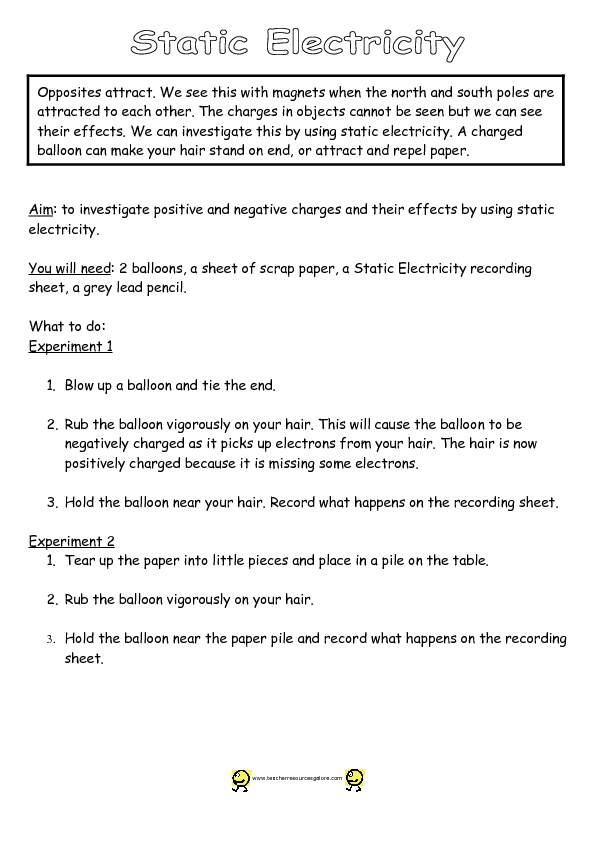 electricity worksheets for 4th grade Termolak – Bill Nye Static Electricity Worksheet