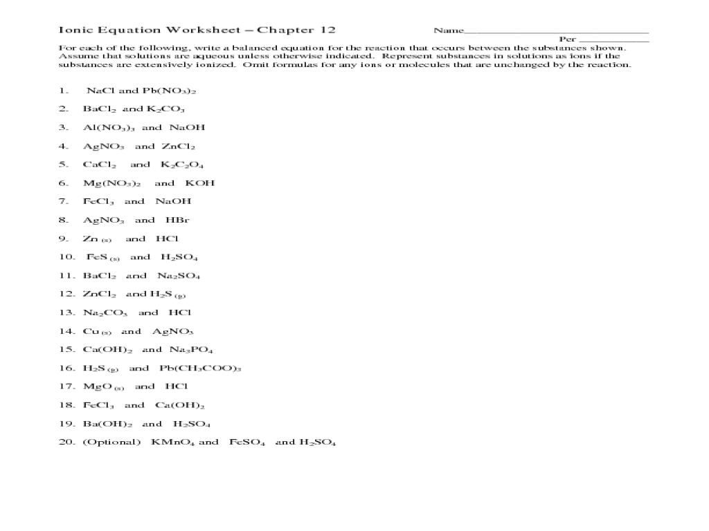 ionic formula worksheet laveyla – Net Ionic Equations Worksheet