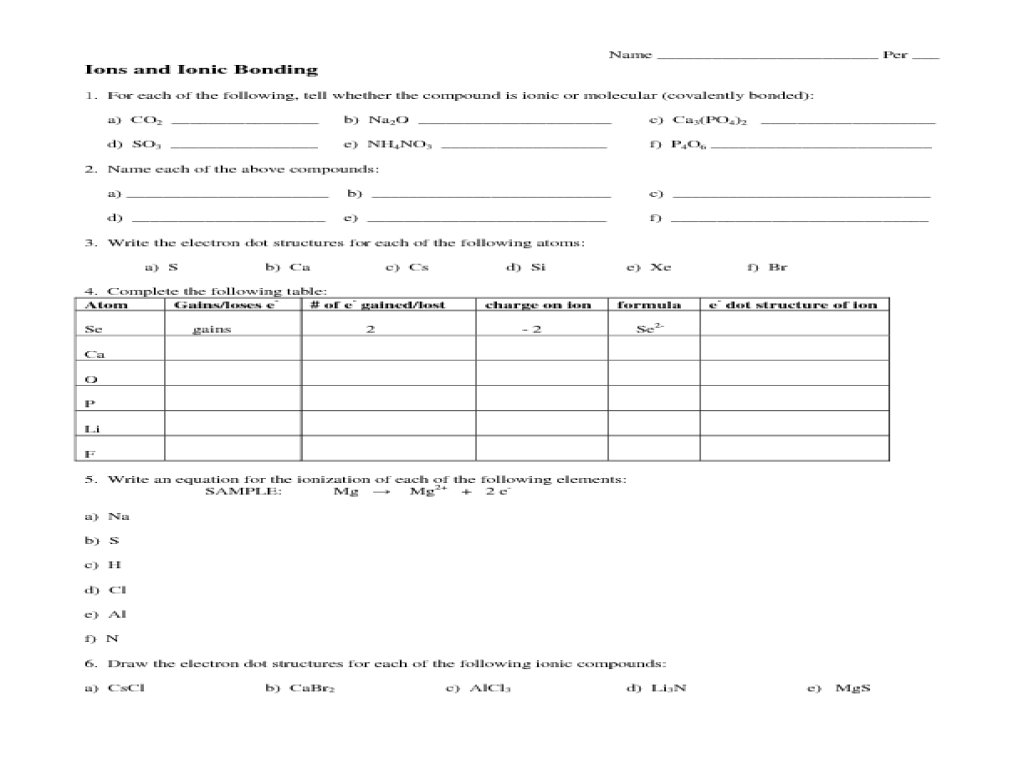 Printables. Ionic Bonding Worksheet. Messygracebook Thousands of ...
