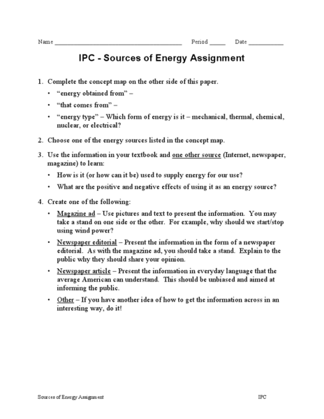 Ipc Worksheets Electricity - Education Worksheets