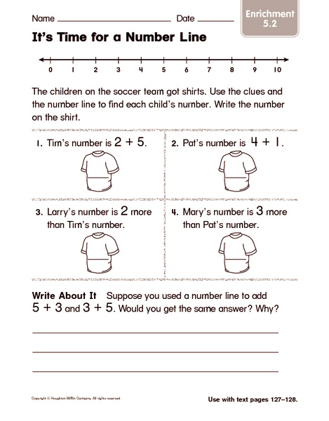 It's Time for a Number Line 1st Grade Worksheet | Lesson Planet