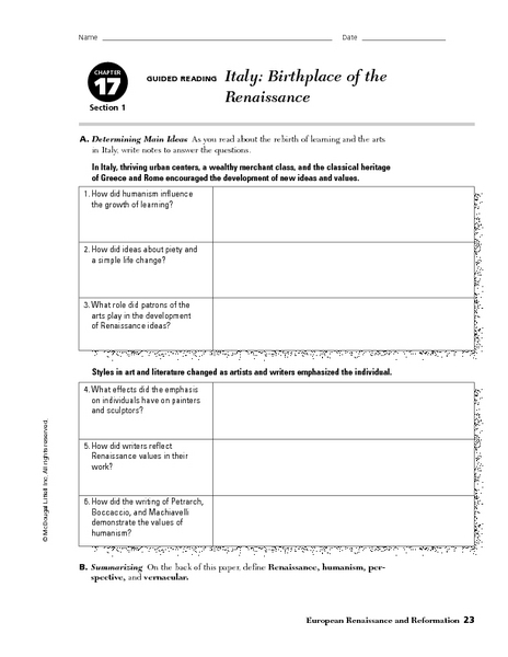 renaissance english enhancement worksheets