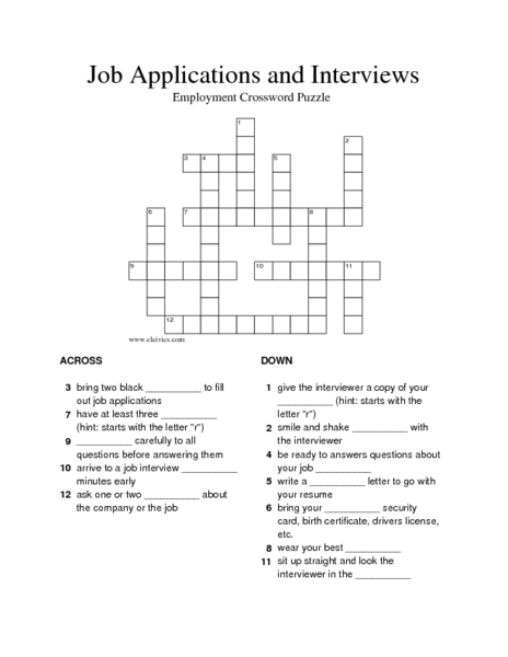 Printables Employment Skills Worksheets job applications and interviews employment crossword puzzle 3rd 8th grade worksheet lesson planet