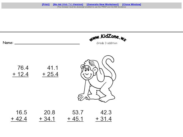 Kidzone Math Worksheets & math activity worksheets
