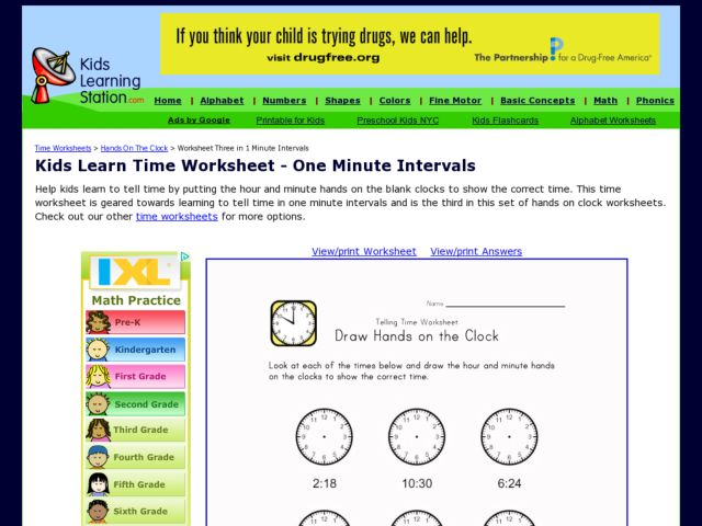 Kids Learn Time Worksheet - One Minute Intervals, Version 2 2nd ...