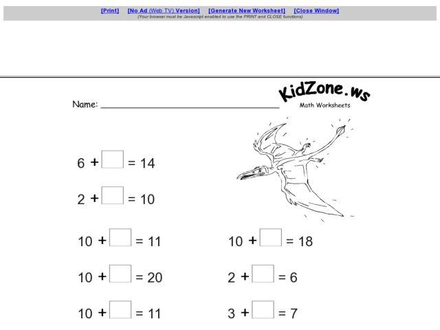 Kidzone Math Worksheets Grade 1 - Educational Math Activities
