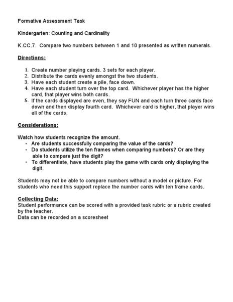Kindergarten: Counting and Cardinality Kindergarten Lesson Plan ...