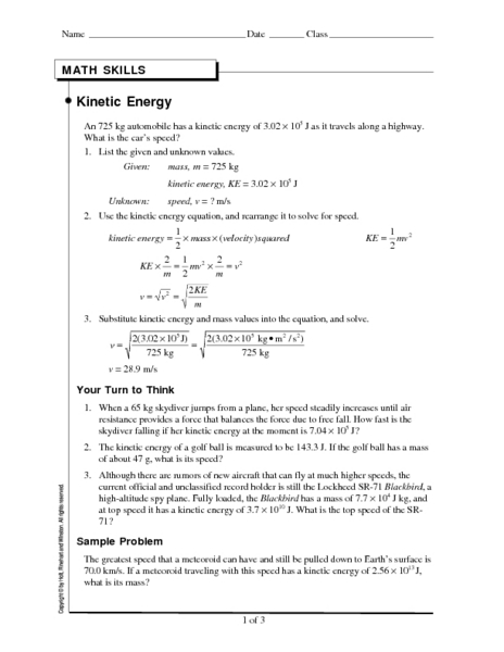 Worksheets Potential And Kinetic Energy Worksheets potential and kinetic energy worksheet teachervision