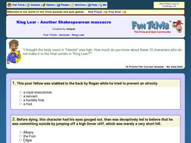 King Lear - Another Shakespearean Massacre: Fun Trivia Quiz 9th ...