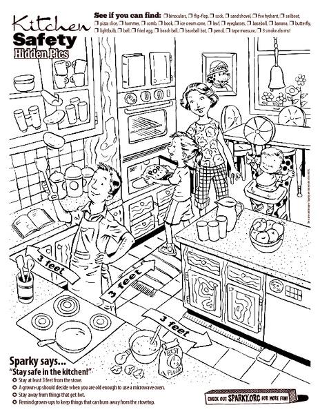 math worksheet : kitchen safety hidden pics kindergarten  3rd grade worksheet  : Safety Worksheets For Kindergarten