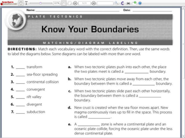 Plate Tectonics Worksheet Templates and Worksheets – Plate Boundaries Worksheet