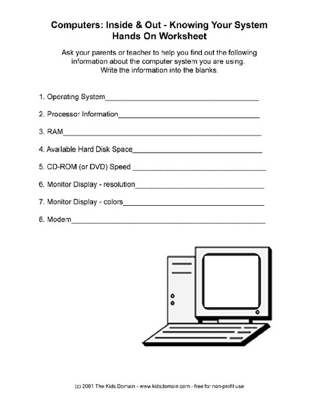 Number Names Worksheets : computer worksheets printables ~ Free ...