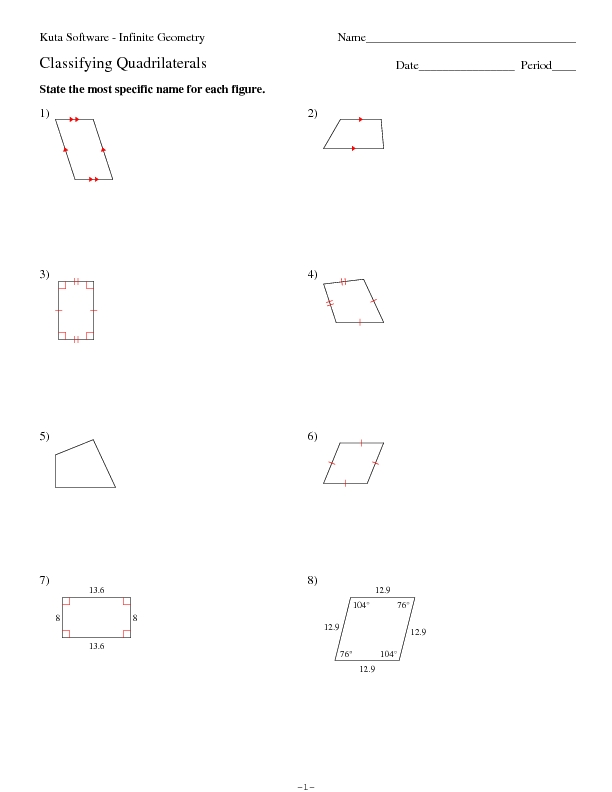Classify Quadrilaterals Worksheet Free Worksheets Library – Properties of Quadrilaterals Worksheet