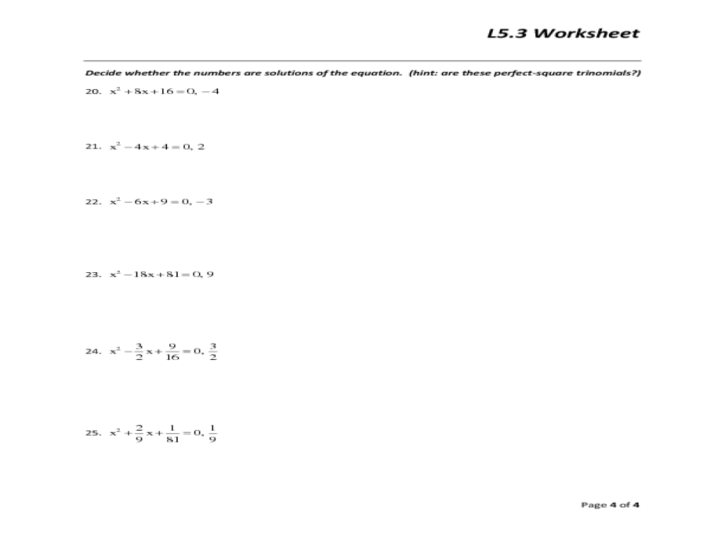 factoring binomials worksheets Termolak – Perfect Square Trinomial Worksheet