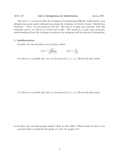 Printables Integration By Substitution Worksheet integration worksheet excel 39 s direct and inverse lab 4 by substitution higher ed lesson planet